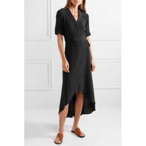 Equipment True Black Silk Imogene Wrap Dress NWT